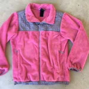 North face pink gray fuzzy jacket size XL girls